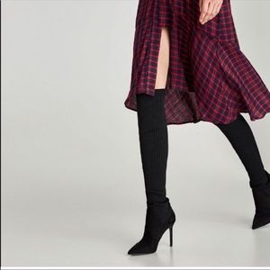 Zara 6.5 Ribbed Over Knee Sock Heeled Boots